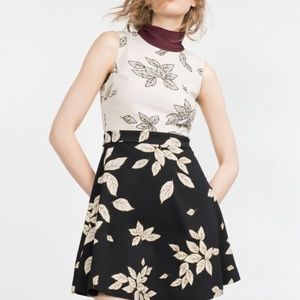 Zara – Black and White Floral Leaf Print Dress